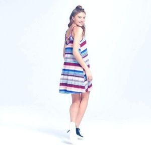 Fashion Women's Knit Halter Dress Multicolored L